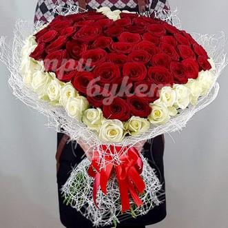 Букет сердце из 101 розы