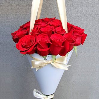 25 красных роз в конусе «Айова»