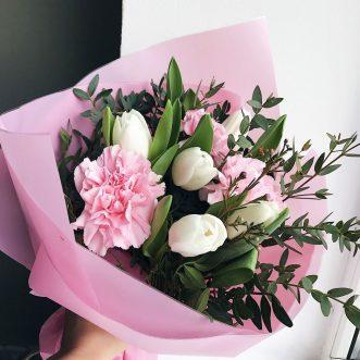 Букет «Розовые шелк»