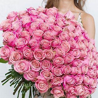 101 розовая роза (Premium) 60 см.
